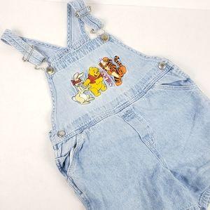 Vtg Disney Store Winnie the Pooh Denim Overalls 4T